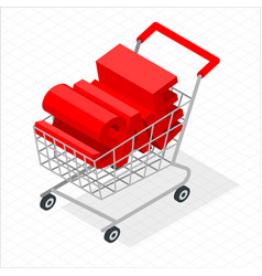 Isometric shopping cart vector