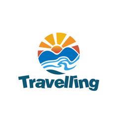landscape travel logo design concept vector image