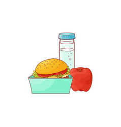 Lunch food box with hamburger apple and bottle of vector