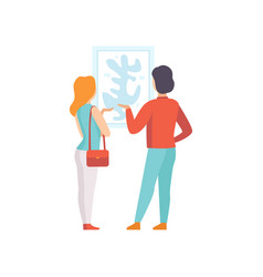 Man and woman looking at the painting hanging on vector