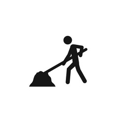 Man with shovel and hill of sand icon vector
