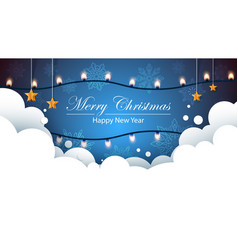 merry christmas bulb yellow garland on the flakes vector image vector image