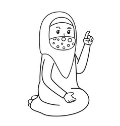 Muslim woman add advice or studying vector