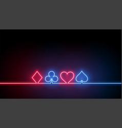 neon symbols casino playing cards background vector image