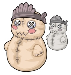 Obsolete soft toy snowman with rough stitches vector image