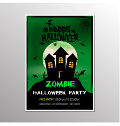 on a halloween zombie party theme on green vector image