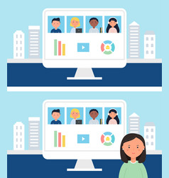 Online school or office team business meeting vector