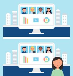 online school or office team business meeting vector image