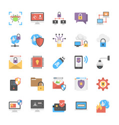 Online system protection flat icons design vector