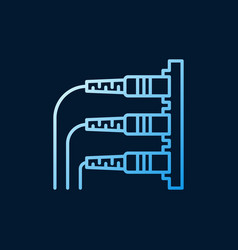 Optical fiber connectors blue outline icon vector
