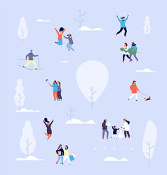 people in winter park couples and kids outdoor vector image