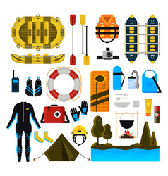 rafting icon set isolated vector image