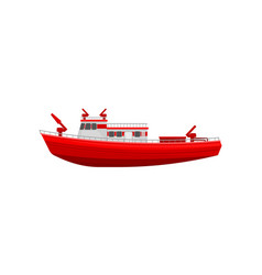 Red firefighting ship emergency service vehicle vector