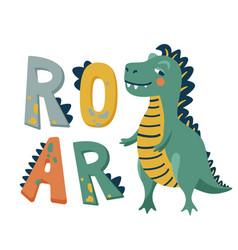 Roar dinosaur background cute vector