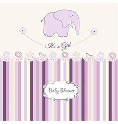 Romantic baby girl announcement card vector