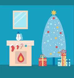 Room decorated for christmas vector