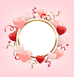 round banner for valentines day vector image