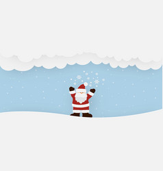 santa claus standing on the snow in winter season vector image