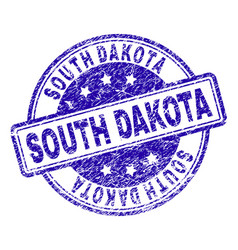 scratched textured south dakota stamp seal vector image