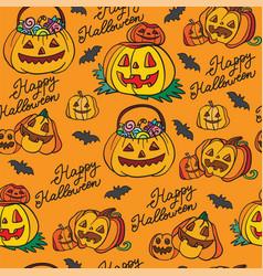 seamless pattern halloween pumpkins on orange vector image