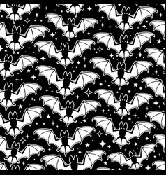 seamless pattern white soaring bats on a black vector image