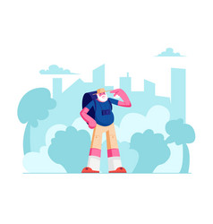 senior tourist male character with backpack vector image