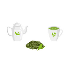 set - green leaf tea teapot mug of tea vector image