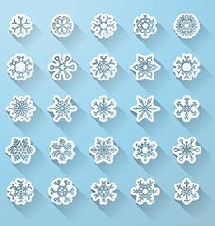 Set of flat snowflake icons with long shadow vector image