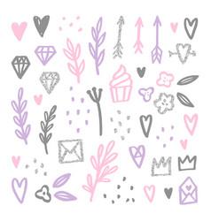 set of love romantic design elements vector image