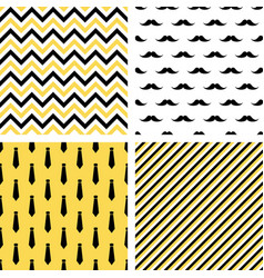 set of seamless male patterns mustaches neckties vector image