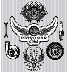 Set of sports badge for service station vector