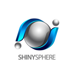 shiny sphere 3d logo concept design symbol vector image