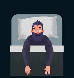 sleepless insomnia concept art insomnious guy vector image