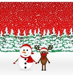Snowman with reindeer and standing in the forest vector