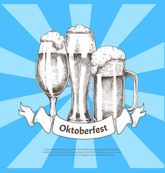 three beer glasses with oktoberfest ribbon poster vector image