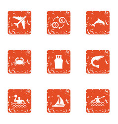 Trip wealth icons set grunge style vector