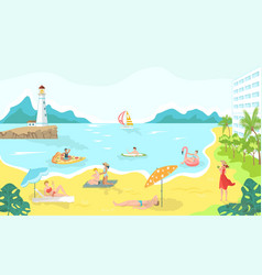 vacationers in swimsuits at sea beach cartoon vector image