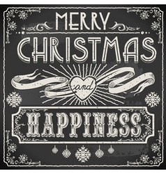 Vintage Merry Christmas Text on a Blackboard vector