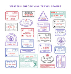Western europe colour travel visa stamps set vector