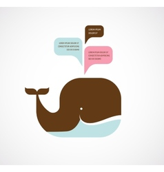 whale icon with speech bubbles vector image vector image