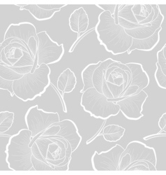 White outline roses on gray seamless pattern vector