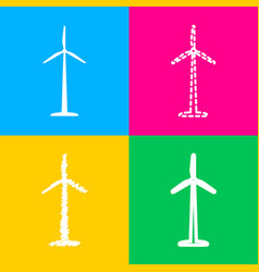 wind turbine logo or sign four styles of icon on vector image