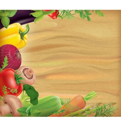Wooden board with vegetables vector