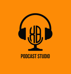 Xb monogram headphone and microphone style vector