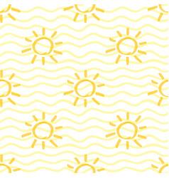 Yellow marker sun seamless pattern vector
