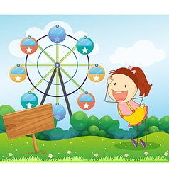 A girl beside an empty board with a ferris wheel vector image vector image