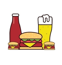 burger beer sauce drawing in line vector image vector image