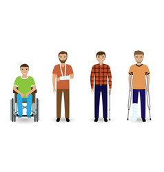 disability people group of four invalid men vector image vector image
