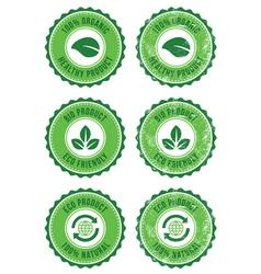 Green organic natural eco retro labels vector image vector image