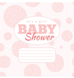 pink baby shower party invitation - girl vector image vector image